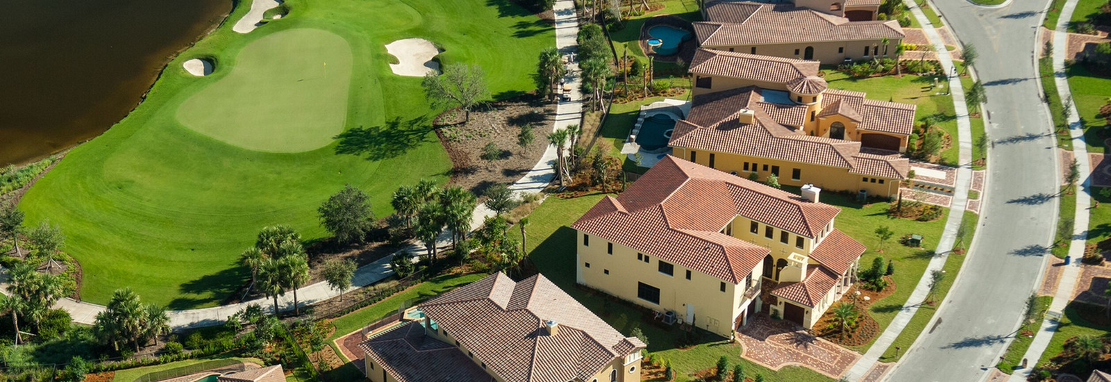 Aerial view of homes on a golf course