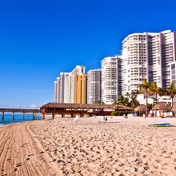 Tall buildings on the beach
